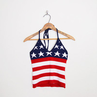 Red White & Blue American Flag Sweater Flag Print Sweater Flag Top Novelty Print Top Halter Top Tank Top Crop Top 90s Grunge Top S Small