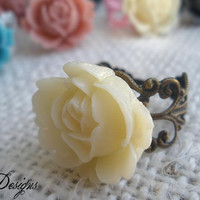Rose Ring with Filigree Band...Choose your color.
