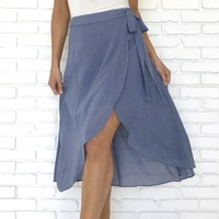 Split Decision Blue Skirt
