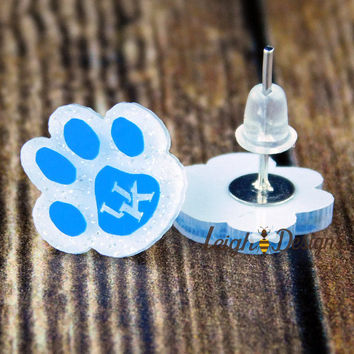 White and Blue Earrings, Wildcats Earrings, Kentucky Wildcats, Big Blue Nation, UK Jewelry, Basketball Jewelry, Handmade, College Football