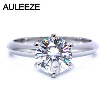 Solitaire 2 Carat Moissanite Ring Test Positive Brilliant Cut Lab Grown Diamond Solid 14K White Gold Engagement Rings For Women