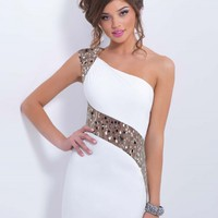 Fashion One Shoulder Sequins Bodycon Mini Party Dress - NOVASHE.com