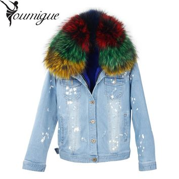 YOUMIGUE Winter Jacket Women 2017 Lady Real Raccoon fur Denim Jeans Down Jackets Winter Pink Fur Lining Female Jacket Overcoat
