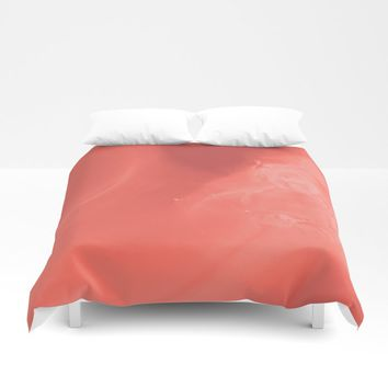 Coral gradient Duvet Cover by duckyb
