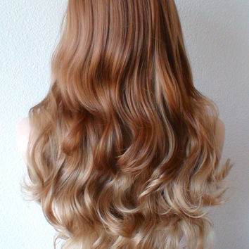 Ginger red Golden blonde long straight layered hair long side bangs wig. Fashion hairstyle two tone  golden blonde wig.