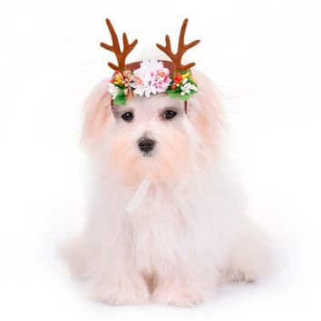 2 Colors Christmas Reindeer Antlers Puppy grace Hat Pet dog cat Headdress with flowers Pet kitty Hair Band hat Pet accessories