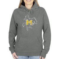 McNeese State Cowboys Ladies Distressed Logo Vintage Pullover Hoodie - Gunmetal