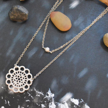 A-170 Layered pendant necklace, Double strand necklace, Lace, Simple necklace, Silver plated chain/ Bridesmaid gifts /Everyday jewelry/