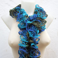 Knit Scarf Fall Fashion Frilly scarf Ruffled Scarf colorful Variegated Holiday Accessories Blue Green Turquoise
