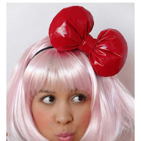 Red Bow Headband POOFY Bow Hair Accessory Pinup Lolita Kawaii Big Oversized PVC Pleather Vinyl Minnie Mouse Birthday Inspired
