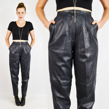 vintage 80s navy blue SKINNY LEATHER pants / 80s leather pants / 80s high waist leather pants / high waisted / leather motorcycle pants / s