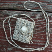Handmade Spirit Pouch with a Vintage 1960s Button - Eventide Clouds