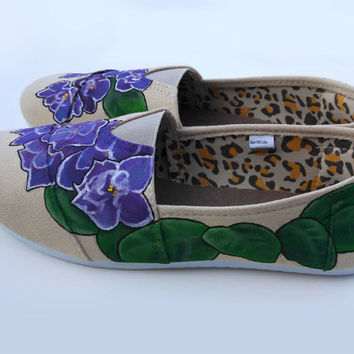 Affordable African Violets Painted Shoes Chatties Custom Kicks Sparkly Petals Floral Shoes Wearable Art Gardener Gift Idea Spring Flowers