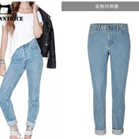 Denim Trousers Women Casual Pants Full Length High Waist Jeans Fashion Leisure Loose Boyfriend Denim Pants