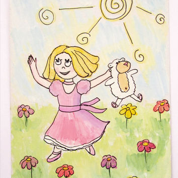 Picture - Card - Original  gouache painting on carton- Girl with sheep