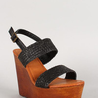 Bamboo Leatherette Woven Slingback Faux Wooden Platform Wedge Color: Black, Size: 10