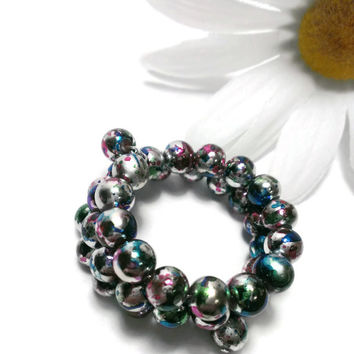 Metallic Beaded Bracelet, Memory Wire Fits All, Stacking, Layering, High Quality Gift for Friend, Teacher, Bridesmaid, Aunt, Charity