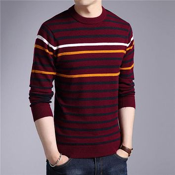Merino Wool Sweaters Autumn Winter Warm Cashmere Sweater Men Casual Stripe O-Neck Pullover Men Plus Size Pull Homme