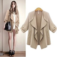 Plus Size Lapel Long Sleeves Casual Loose Coat