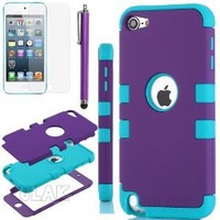 iPod Touch 6th Generation Case,iPod 6 Cases,ULAK [Colorful Series] 3-Piece Style Hybrid Silicon Hard Case Cover for Apple iPod Touch 5 6th Generation_2015 Realeased (Purple/Blue)