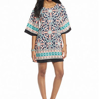 BeBop Tiled Vines Printed Shift Dress