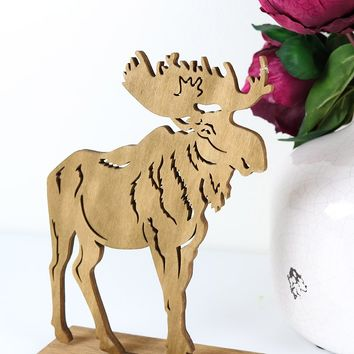 "Laser Cut Wood Moose Tabletop Christmas Decoration - 6"" L x .25"" W x 8.25"" H"