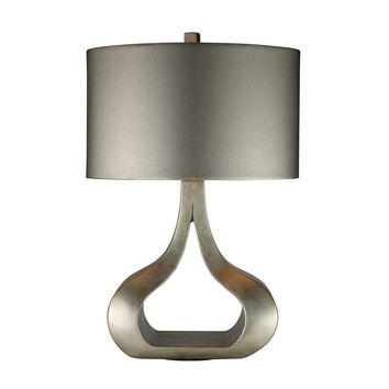D1840 Carolina Table Lamp In Silver Leaf With Metallic Silver Shade - Free Shipping!