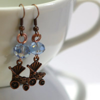 Light Blue Crystal and Antique Copper Baby Carriage Charm Fashion Earrings for the new mom of a baby boy - great for baby showers