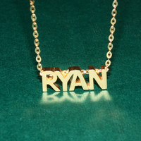 Cubic Initial  Necklace - Name Necklace - Birthday Gift - 18K Gold Plated