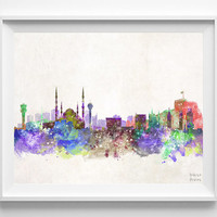 Ankara Skyline, Watercolor, Turkey Poster, Turkish Print, Bedroom, Cityscape, City Painting, Illustration Art Paint, Wall, Decor [NO 546]