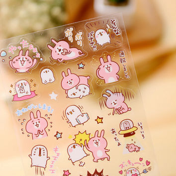 Novelty Bunny Animals Transparent Decorative Sticker Diary Album Label Sticker DIY Scrapbooking Stationery Stickers Escolar