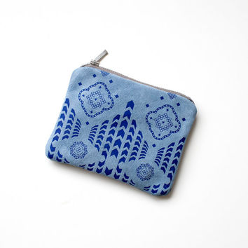 20% off SALE Blue Moroccan Pattern Coin Purse Printed Leather-Suede zipper SCP-104