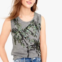 Muscle tank in sequin palm trees