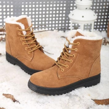 Women Winter Warm Lace Up Faux Suede Fur Lining Flat Ankle Snow Boots Shoe Color