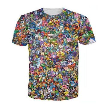 DCCKFS2 Women Men 3d Tops Original 150 Pokemon 8-Bit Collage T-Shirt 90s Video Game And Anime 3d Print T Shirt Characters Cartoon Tee