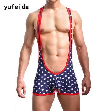 YUFEIDA Sexy Men's Bodybuilding Wrestling Singlet Cotton Jumpsuit Leotard Bodysuit One-Piece USA Flag Stars Stripes Underwear
