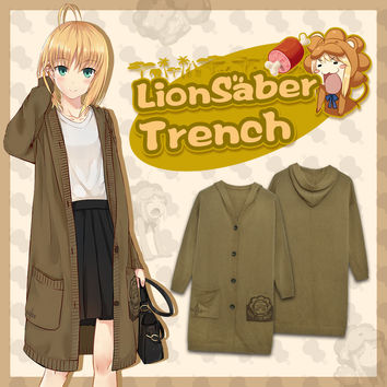 Anime Fate Stay Night Lion Saber Knitted Cotton Coat Women Trench Female Windbreaker Winter Autumn Cardigan Manteau