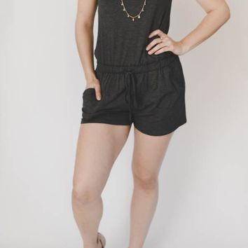 Pocket Romper - Charcoal