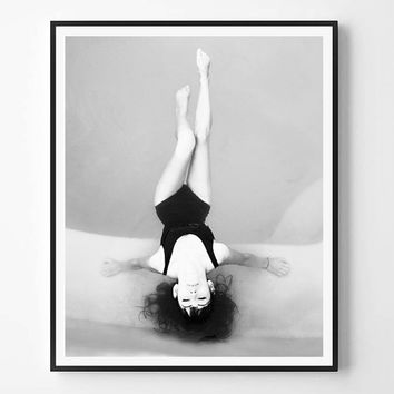Modern Minimalist Print, Woman photo, Beach art, Black White photo, Printable art, Instant Download, Minimalist Print, Scandinavian print