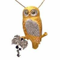 Estate Platinum & Gold Sapphire Diamond Owl Brooch Pin & Pendant - Dover Jewelry