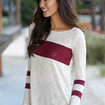 Ivory And Burgundy Top