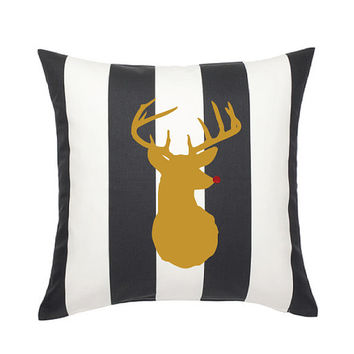 Black & White Gold Deer (or Reindeer) Pillow Cover