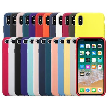 Original With Logo Silicone Phone Case For iPhone 7 6 8 Plus Official Cover For Apple Cases For iPhone X 6s 5 5s SE Retail Box