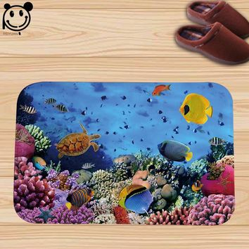 Autumn Fall welcome door mat doormat PEIYAUN Ocean Series Pretty Colored Coral Reef Fish Flannel  Factory Custom Made Carpets 40x60cm Floor Mat AT_76_7