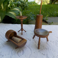 Wood Dollhouse Miniatures - Farm or Country Home - Butter churn - Milking stool - Candle stand and candle - Cradle with Baby