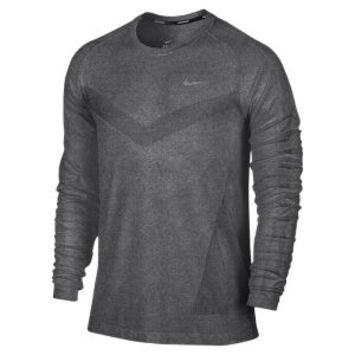 Nike Dri-FIT Knit Long-Sleeve Men's Running Shirt - Black
