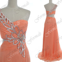 Peach Prom Dresses, 2014 Prom Gown, One Shoulder Long Peach Chiffon Prom Dresses, Peach Evening Gown, Long Formal Gown, Peach Prom Gown