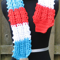 Rocket Popsicle Scarf, Red  - White - Blue Turbo Rocket Popsicle / Firecracker Pop / Bomb Pop, Great Summer Accessory, Ready to Ship