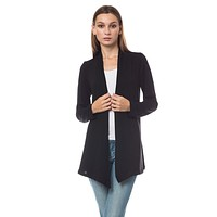 LE3NO Womens Long Sleeve Open Front Hi Low Shrug Cardigan