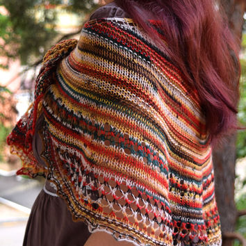 African colors shawl, jamaican striped shawlette, soft wool scarf, womens scarf, geometric scarf, lace shouldercover, crescent shape